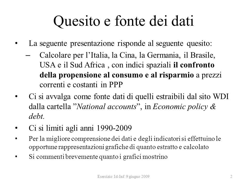Quesito e fonte dei dati La seguente presentazione risponde al seguente quesito: – Calcolare per lItalia, la Cina, la Germania, il Brasile, USA e il S