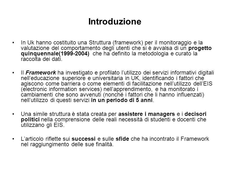 Introduzione In Uk hanno costituito una Struttura (framework) per il monitoraggio e la valutazione del comportamento degli utenti che si è avvalsa di un progetto quinquennale(1999-2004) che ha definito la metodologia e curato la raccolta dei dati.