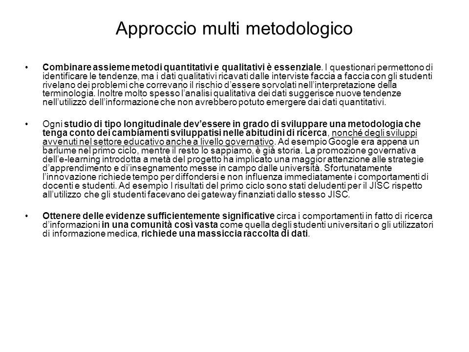 Approccio multi metodologico Combinare assieme metodi quantitativi e qualitativi è essenziale.