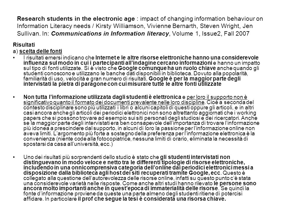 Research students in the electronic age : impact of changing information behaviour on Information Literacy needs / Kirsty Williamson, Vivienne Bernarth, Steven Wright, Jen Sullivan.