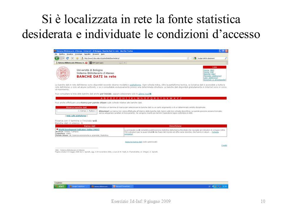 Si è localizzata in rete la fonte statistica desiderata e individuate le condizioni daccesso Esercizio Id-Inf: 9 giugno 200910