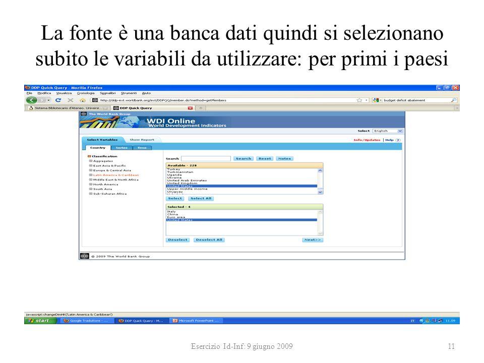 La fonte è una banca dati quindi si selezionano subito le variabili da utilizzare: per primi i paesi Esercizio Id-Inf: 9 giugno 200911