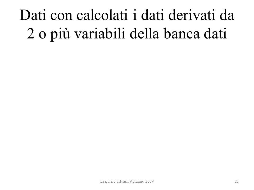 Dati con calcolati i dati derivati da 2 o più variabili della banca dati Esercizio Id-Inf: 9 giugno 200921