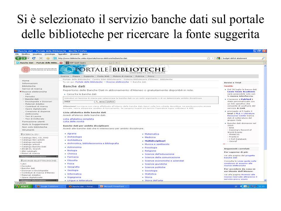 Si è selezionato il servizio banche dati sul portale delle biblioteche per ricercare la fonte suggerita