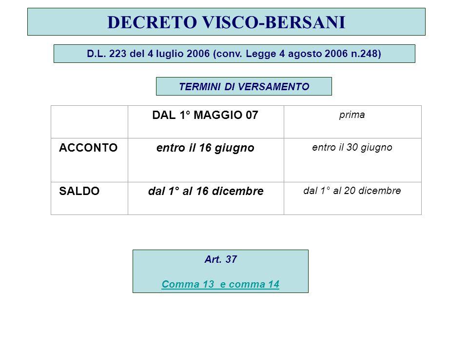 DECRETO VISCO-BERSANI D.L.223 del 4 luglio 2006 (conv.