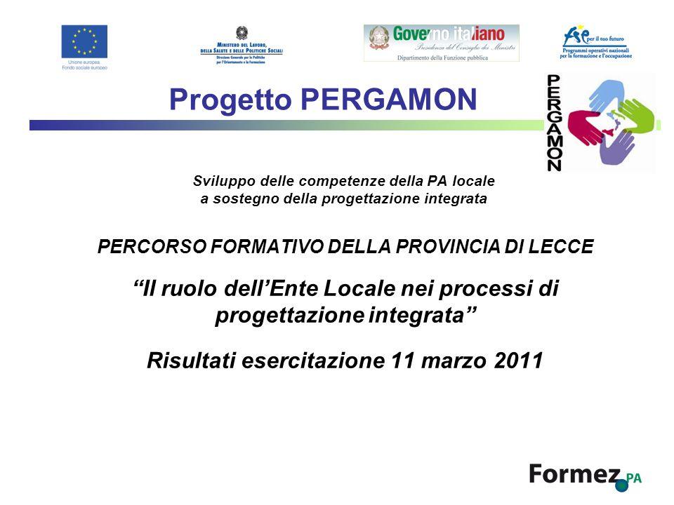 Sviluppo delle competenze della PA locale a sostegno della progettazione integrata PERCORSO FORMATIVO DELLA PROVINCIA DI LECCE Il ruolo dellEnte Local