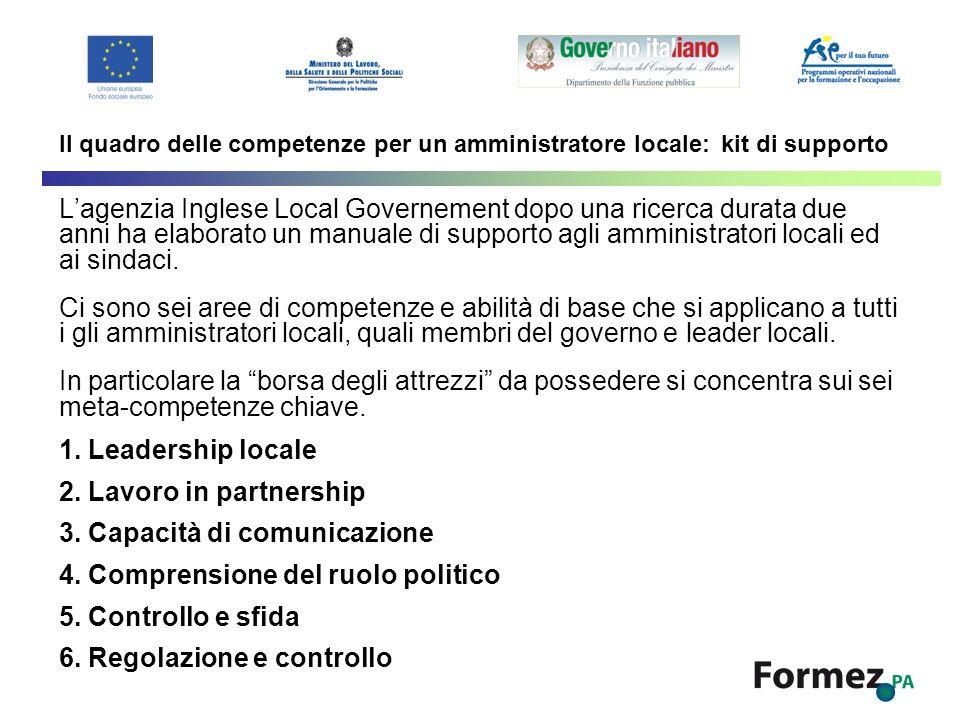 Il quadro delle competenze per un amministratore locale: kit di supporto Lagenzia Inglese Local Governement dopo una ricerca durata due anni ha elabor
