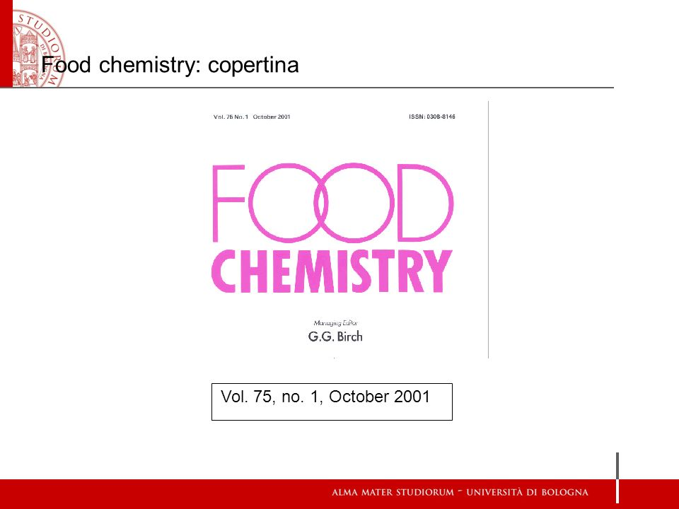 Food chemistry: copertina Vol. 75, no. 1, October 2001