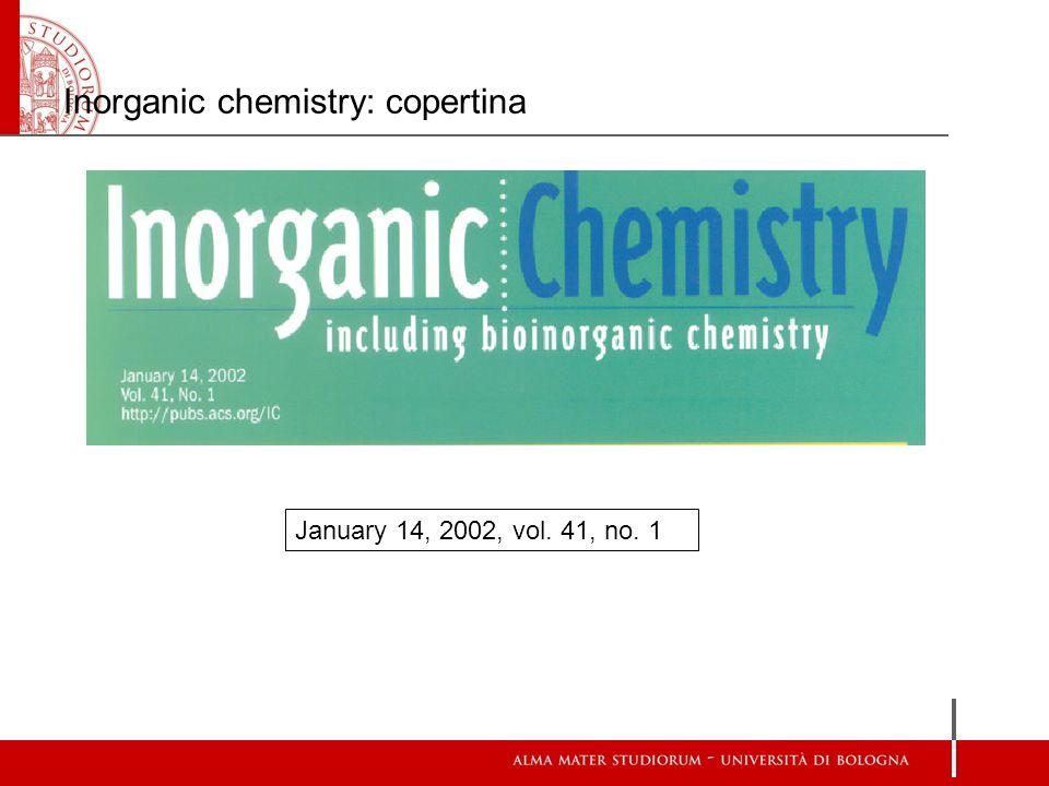 Inorganic chemistry: copertina January 14, 2002, vol. 41, no. 1