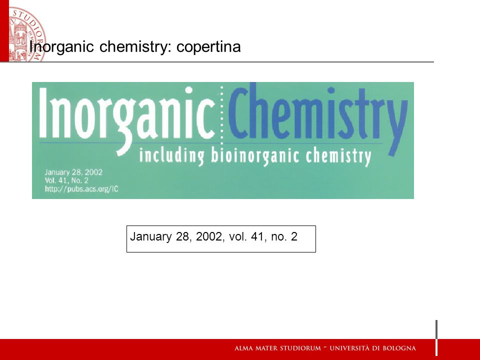 Inorganic chemistry: copertina January 28, 2002, vol. 41, no. 2