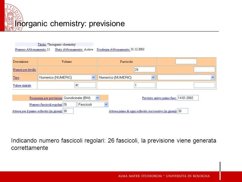 Inorganic chemistry: previsione Indicando numero fascicoli regolari: 26 fascicoli, la previsione viene generata correttamente
