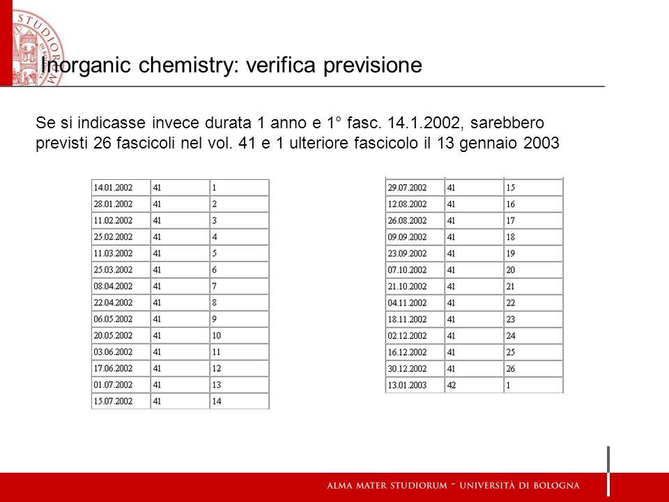 Se si indicasse invece durata 1 anno e 1° fasc. 14.1.2002, sarebbero previsti 26 fascicoli nel vol.
