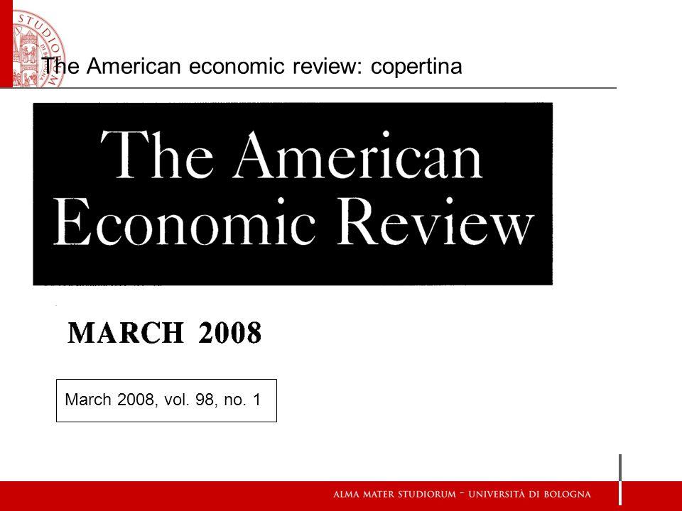 The American economic review: copertina March 2008, vol. 98, no. 1