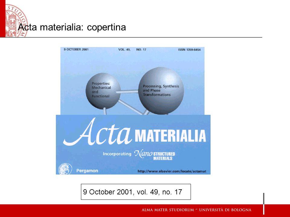 Acta materialia: copertina 9 October 2001, vol. 49, no. 17