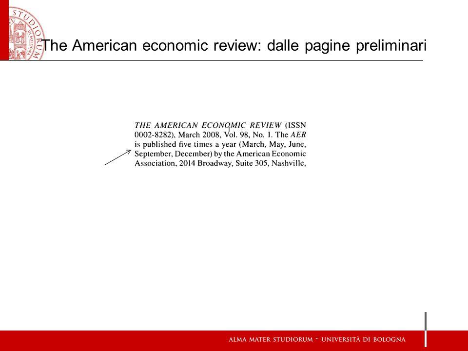 The American economic review: dalle pagine preliminari