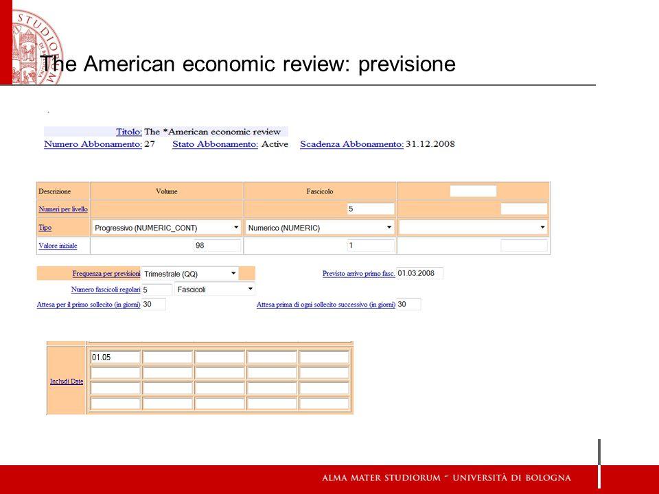 The American economic review: previsione