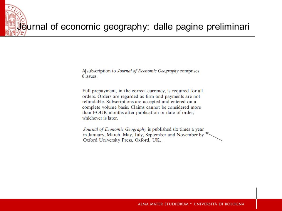Journal of economic geography: dalle pagine preliminari
