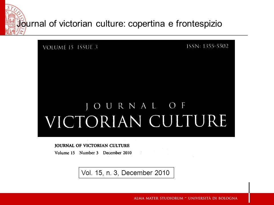 Journal of victorian culture: copertina e frontespizio Vol. 15, n. 3, December 2010