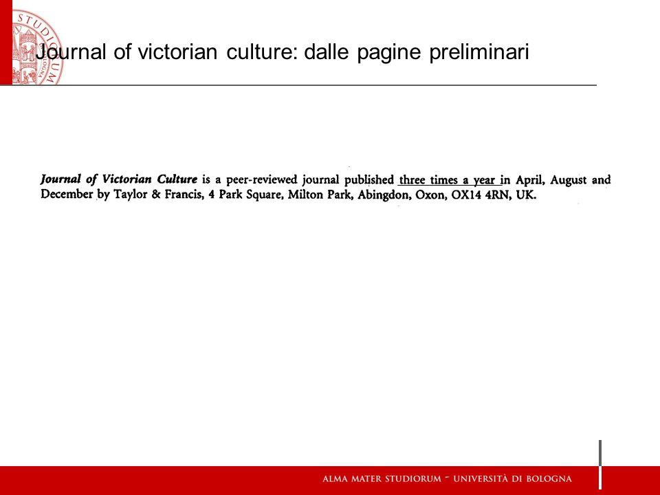 Journal of victorian culture: dalle pagine preliminari