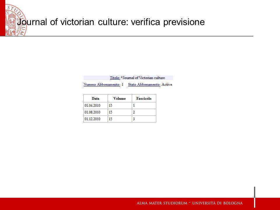 Journal of victorian culture: verifica previsione