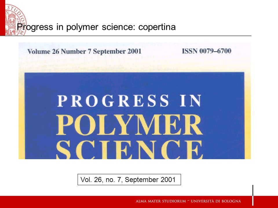 Progress in polymer science: copertina Vol. 26, no. 7, September 2001