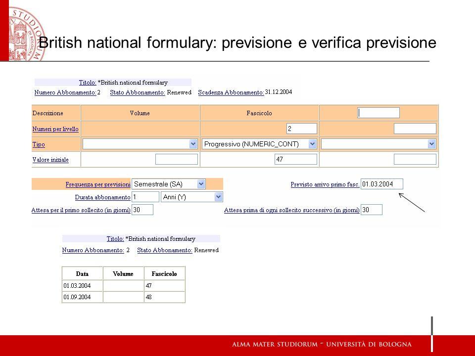British national formulary: previsione e verifica previsione