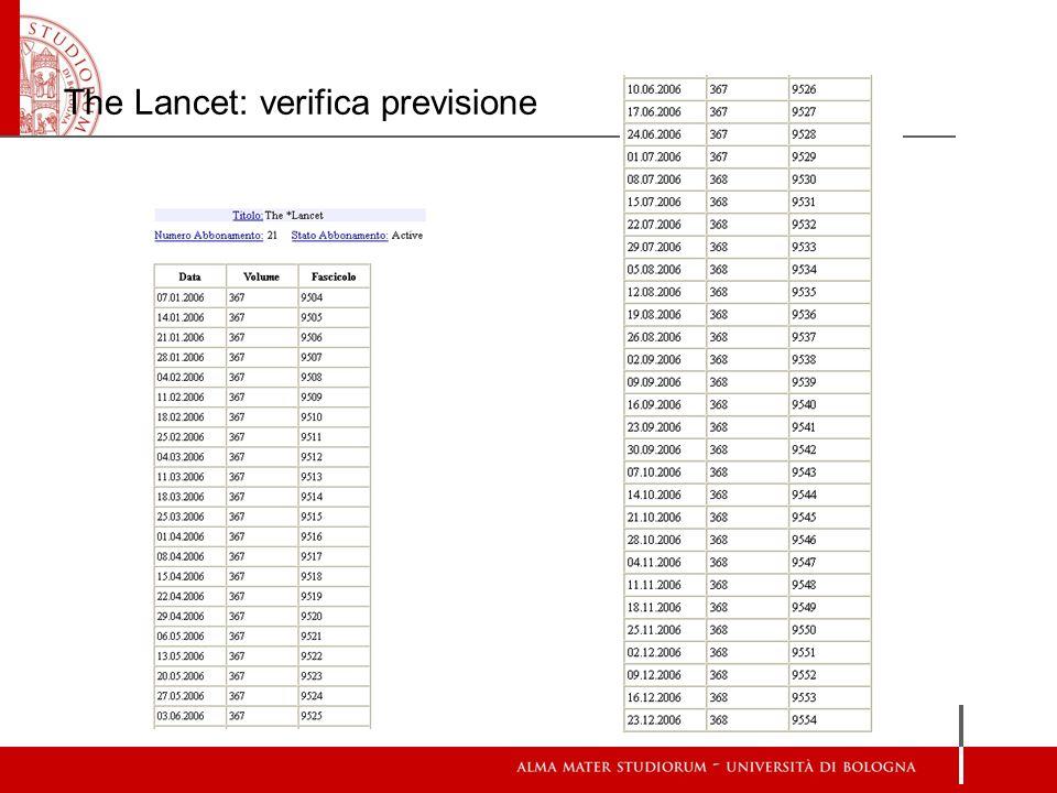 The Lancet: verifica previsione
