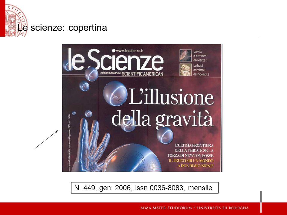 Le scienze: copertina N. 449, gen. 2006, issn 0036-8083, mensile