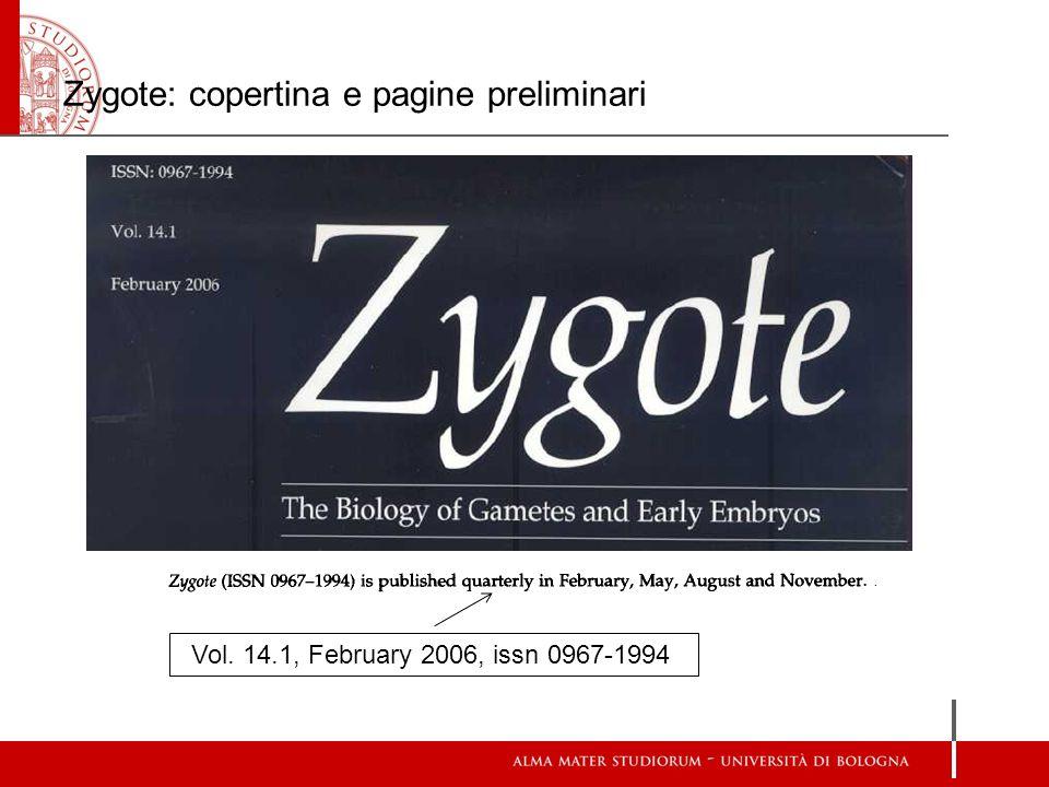 Zygote: copertina e pagine preliminari Vol. 14.1, February 2006, issn 0967-1994
