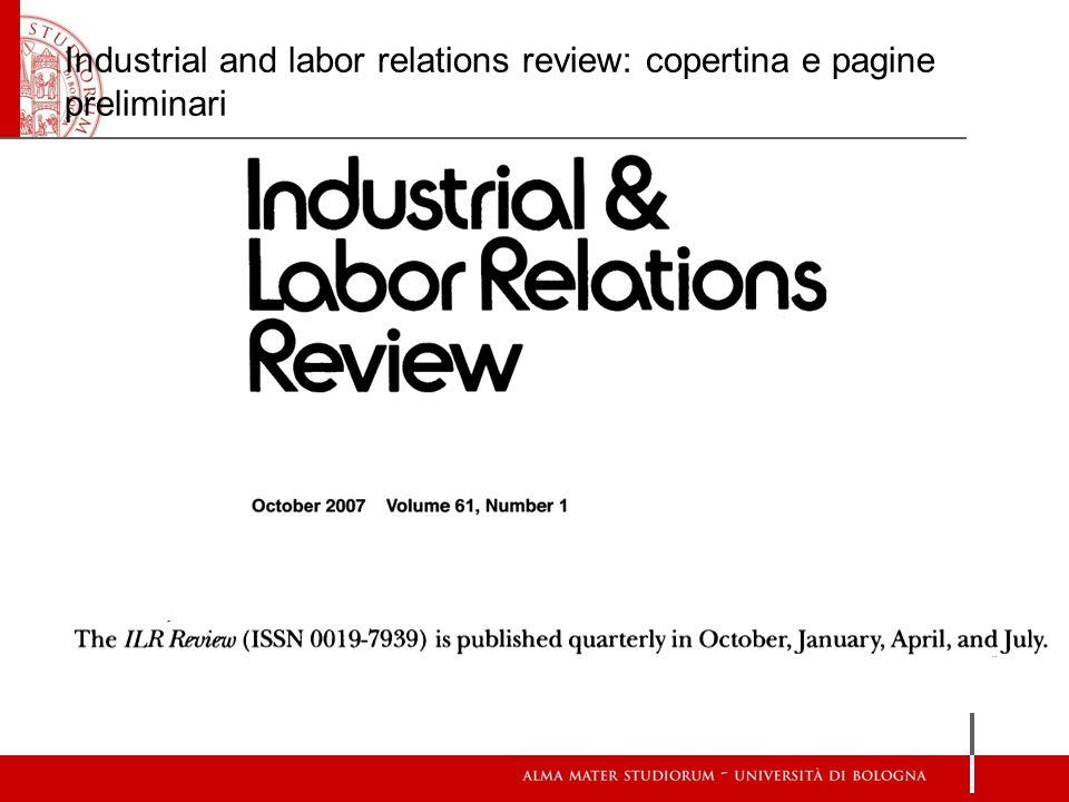 Industrial and labor relations review: copertina e pagine preliminari