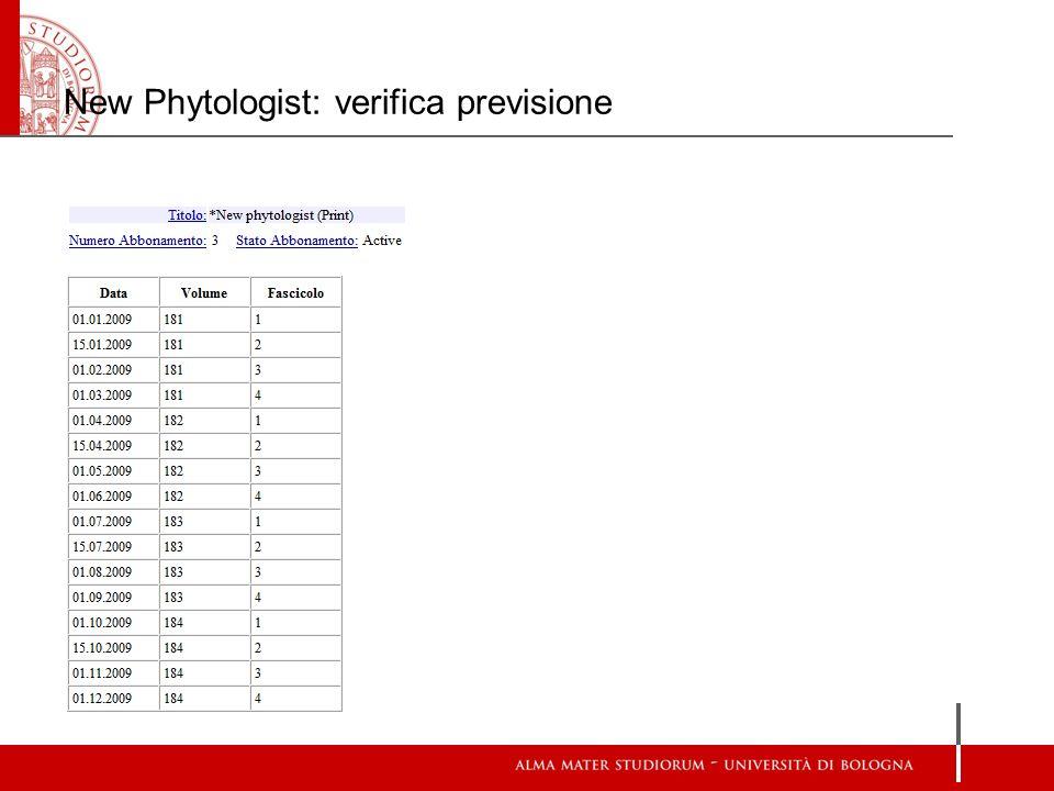 New Phytologist: verifica previsione