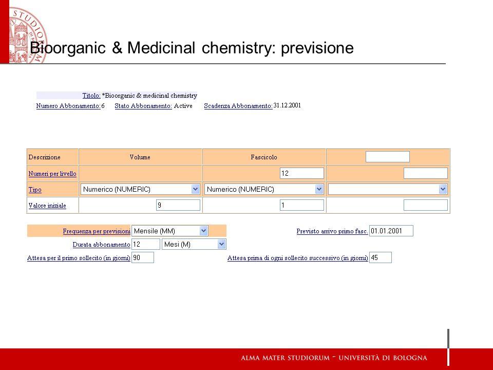 Bioorganic & Medicinal chemistry: previsione