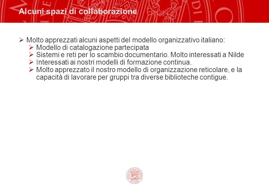 Alcuni spazi di collaborazione Molto apprezzati alcuni aspetti del modello organizzativo italiano: Modello di catalogazione partecipata Sistemi e reti per lo scambio documentario.
