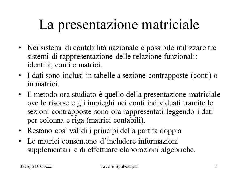 Jacopo Di CoccoTavole input-output6 La tavola delle interdipendenze La tavola delle interdipendenze tra gli operatori economici è una matrice largamente utilizzata per fornire informazioni dettagliate sulla struttura dei costi di produzione e sui flussi di beni e servizi da chi a chi.