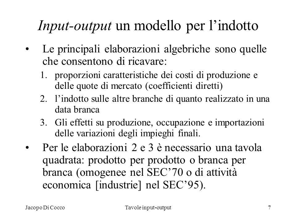 Jacopo Di CoccoTavole input-output8 Il modello quadrato aperto e chiuso Nel modello aperto utilizzato dal SEC, la domanda finale è esogena, quindi le componenti della domanda finale sono variabili indipendenti o di governo nei sistemi utilizzati.