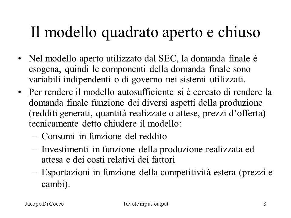 Jacopo Di CoccoTavole input-output9 Il modello statico e quello dinamico Il modello base è statico in due sensi: –Non include i tempi di diffusione degli impulsi –Non include gli effetti della crescita economica.