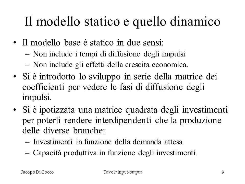 Jacopo Di CoccoTavole input-output10 Il modello rettangolare di Stone (SNA93) Il modello classico quadrato è basato sulle branche di produzione omogenea e presenta quindi delle difficoltà statistiche dovute alle attività secondarie.