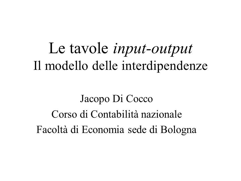 Jacopo Di CoccoTavole input-output2 Articolazione degli argomenti Il modello intersettoriale di Leontief Calcolo dei coefficienti diretti Coefficienti di fabbisogno diretto ed indiretto (moltiplicatori e indotti) Le attivazioni impresse e ricevute