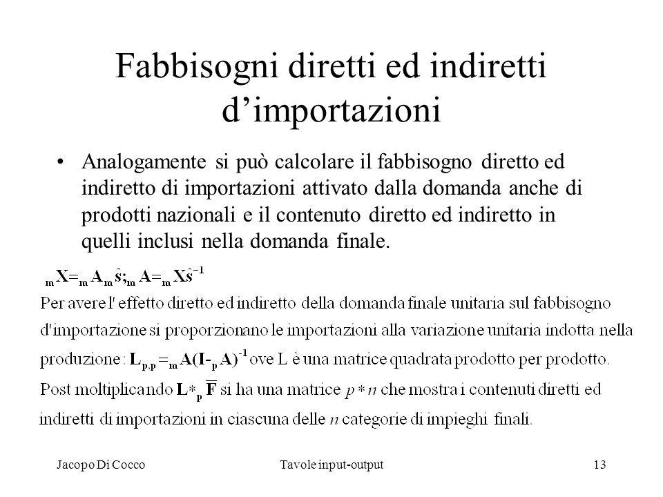 Jacopo Di CoccoTavole input-output13 Fabbisogni diretti ed indiretti dimportazioni Analogamente si può calcolare il fabbisogno diretto ed indiretto di