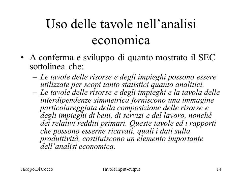 Jacopo Di CoccoTavole input-output14 Uso delle tavole nellanalisi economica A conferma e sviluppo di quanto mostrato il SEC sottolinea che: –Le tavole
