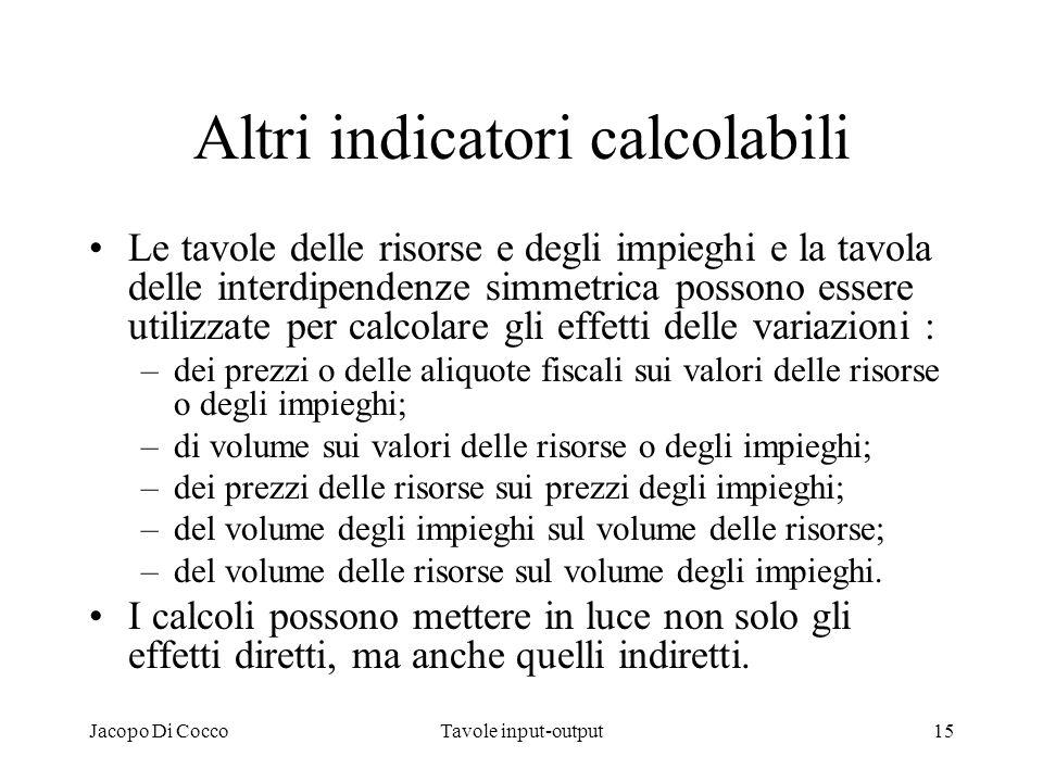 Jacopo Di CoccoTavole input-output15 Altri indicatori calcolabili Le tavole delle risorse e degli impieghi e la tavola delle interdipendenze simmetric
