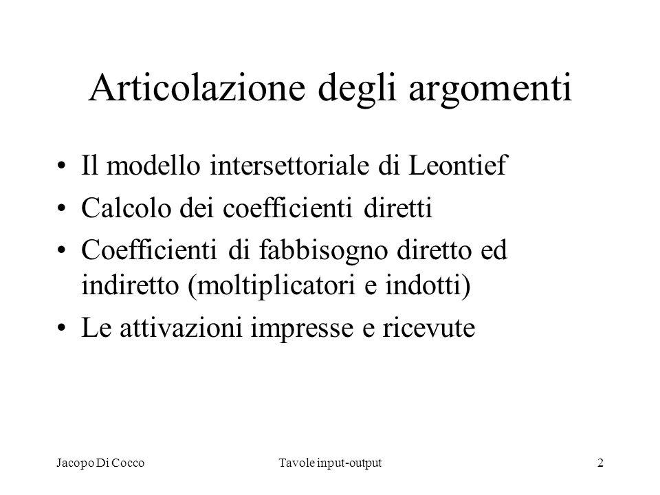 Jacopo Di CoccoTavole input-output2 Articolazione degli argomenti Il modello intersettoriale di Leontief Calcolo dei coefficienti diretti Coefficienti