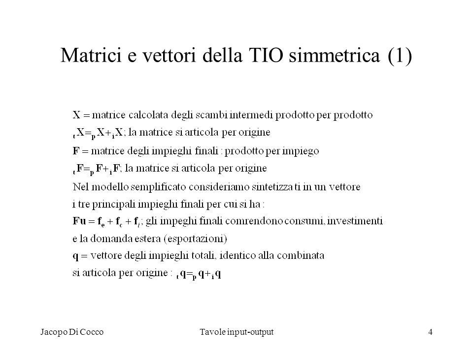 Jacopo Di CoccoTavole input-output5 Matrici e vettori della TIO simmetrica (2)