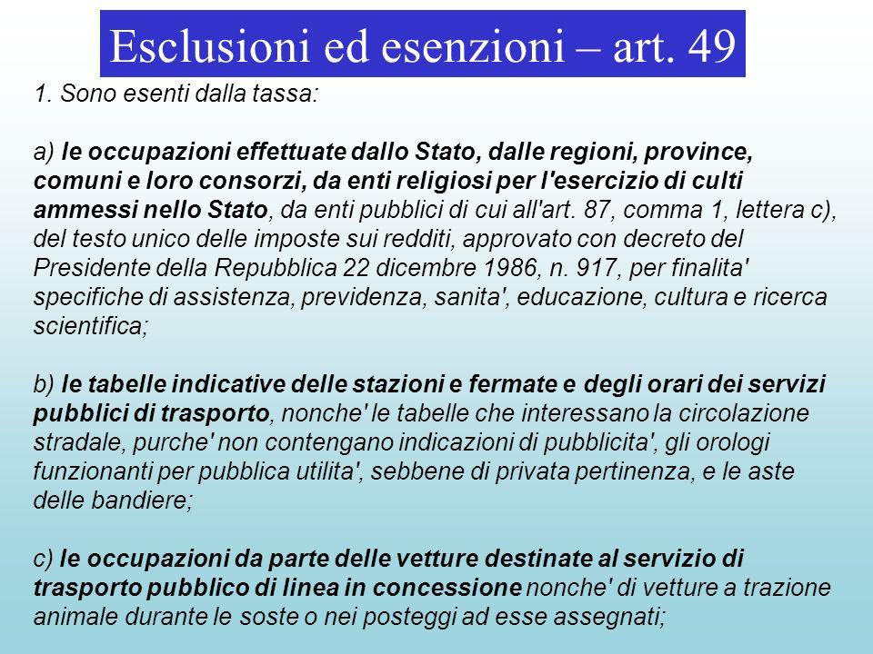Esclusioni ed esenzioni – art.
