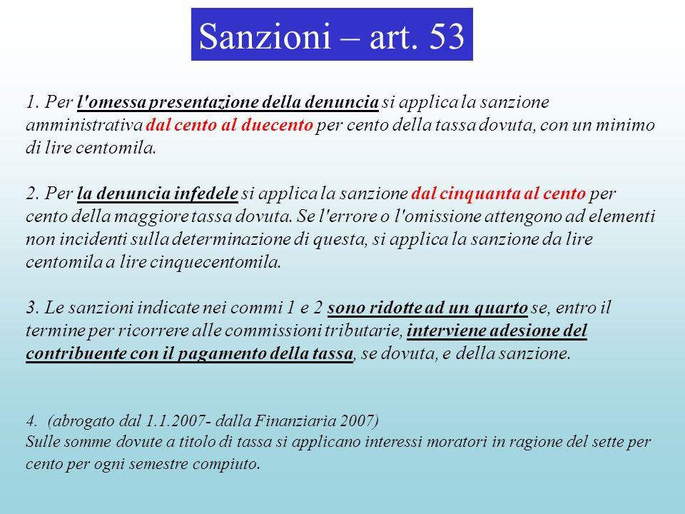 Sanzioni – art. 53 1. Per l'omessa presentazione della denuncia si applica la sanzione amministrativa dal cento al duecento per cento della tassa dovu