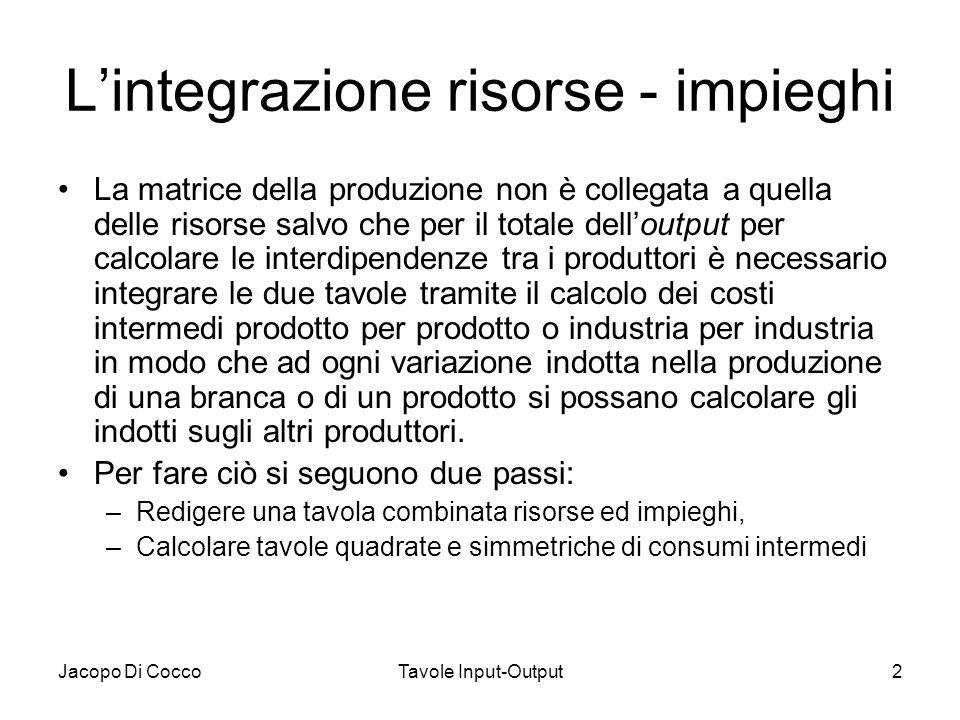 Jacopo Di CoccoTavole Input-Output2 Lintegrazione risorse - impieghi La matrice della produzione non è collegata a quella delle risorse salvo che per