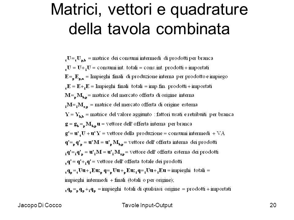 Jacopo Di CoccoTavole Input-Output20 Matrici, vettori e quadrature della tavola combinata