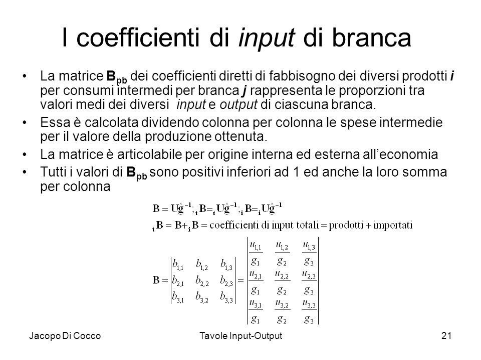 Jacopo Di CoccoTavole Input-Output21 I coefficienti di input di branca La matrice B pb dei coefficienti diretti di fabbisogno dei diversi prodotti i p
