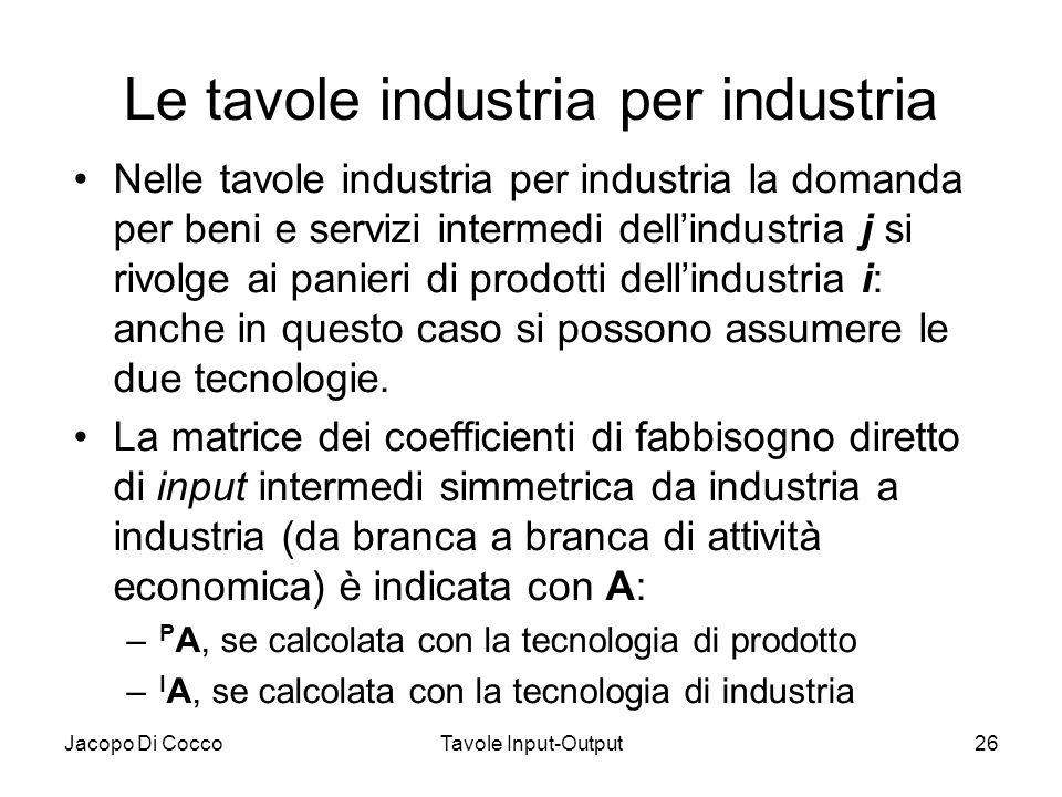 Jacopo Di CoccoTavole Input-Output26 Le tavole industria per industria Nelle tavole industria per industria la domanda per beni e servizi intermedi de