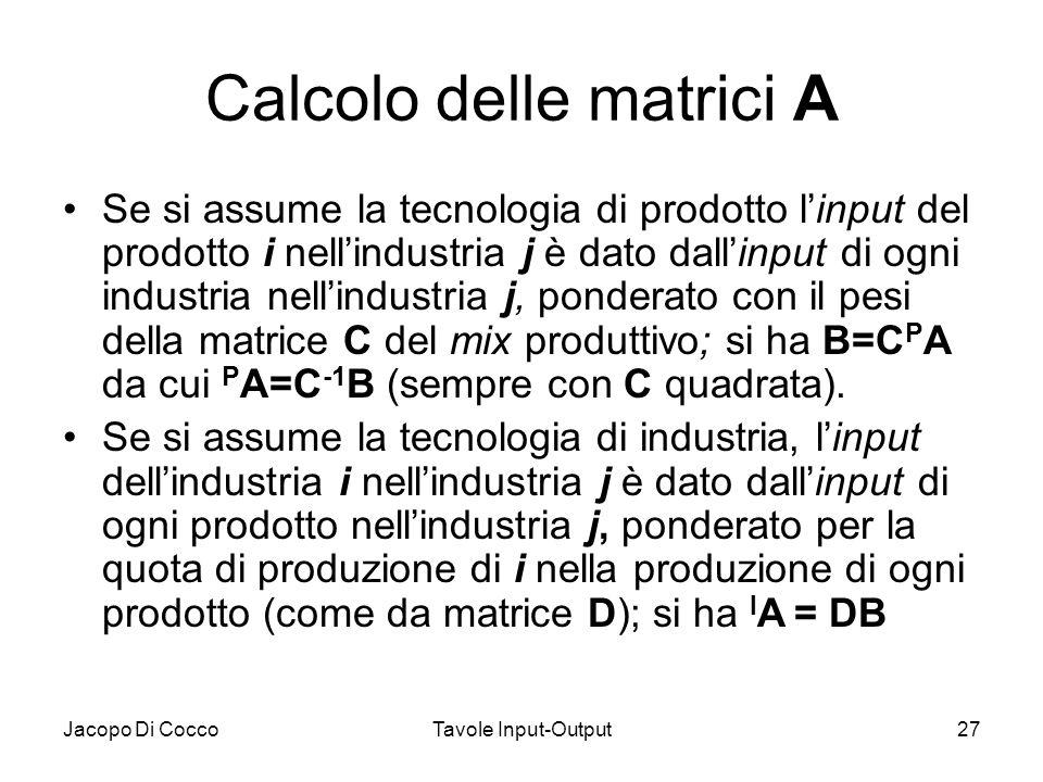 Jacopo Di CoccoTavole Input-Output27 Calcolo delle matrici A Se si assume la tecnologia di prodotto linput del prodotto i nellindustria j è dato dalli
